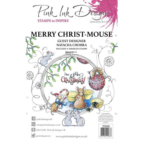 Pink Ink  A5 Merry Christ Mouse Clear Stamp Set